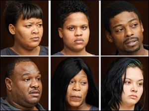 Top row, from left, Markella Lawrence, Angel Bowman, Anthony Mitchell, bottom row, from left, Antoine Pernell, Myesha Newton, and Sonia Nieto have all face multiple charges.