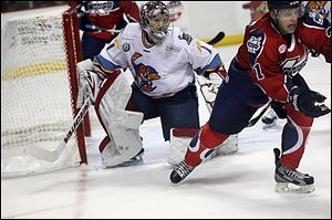 Toledo's Jordan Pearce won his sixth straight game in net for the Walleye. Pearce finished with 25 saves.