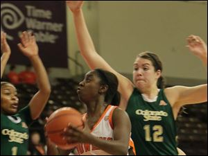 BGSU's Jasmine Matthews goes up for two of her 10 points.