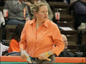 BGSU coach Jennifer Roos watches her team during the game.
