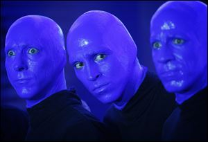 Members of the Blue Man Group promote their new show at the Monte Carlo Resort and Casino in Las Vegas in October.