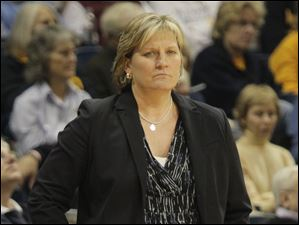 Toledo coach Tricia Cullop watches from the bench.