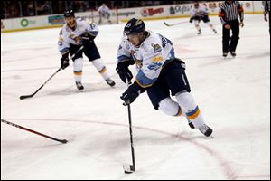 Terry Broadhurst was one of three Walleye players to pick up a goal and an assist in Saturday's 4-3 win over Cincinnati. The win pushes Toledo back into first place in the ECHL North Division.