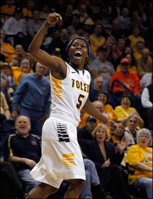 Toledo's Janelle Reed-Lewis reacts to scoring during the game Saturday against SIU-Edwardsville at Savage Arena.