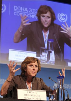 EU commissioner for Climate Action Connie Hedegaard speaks during a press conference in Doha, Qatar.