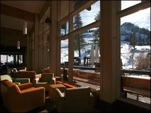 The view out to the slopes from the Olympic House in Squaw Valley. The Olympic House is undergoing a renovation with new and expanded seating, part of a five-year 70-million improvement project.
