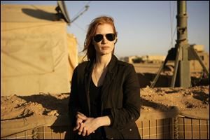 "Jessica Chastain, in the new thriller directed by Kathryn Bigelow, ""Zero Dark Thirty."""
