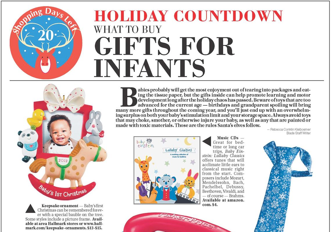 Holiday countdown gift guide: What to buy for infants | Toledo Blade