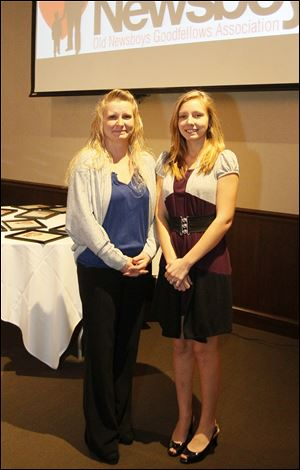 Student scholarship awardee Tracy Campbell, right, and her mother Jacqueline Campbell, left, during the Old News Boys Goodfellow Association annual dinner.
