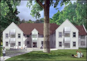 Artists rendering of a planned residence hall at Maumee Valley Country Day School.