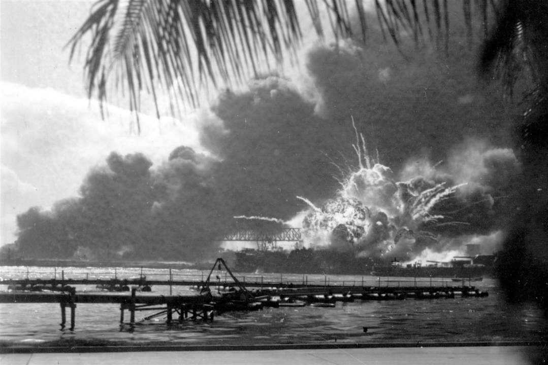 The-destroyer-USS-Shaw-explodes-after-being-hit