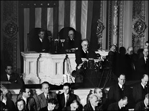President Franklin Roosevelt speaks to a joint session of Congress in Washington after the Japanese attack on Pearl Harbor, Hawaii.