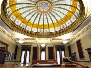 The Van Wert County Courthouse 30-foot dome that was finished recently viewed from behind the bench.