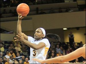 Lucretia Smith just missed a double double, with eight rebounds and 11 points in the game.