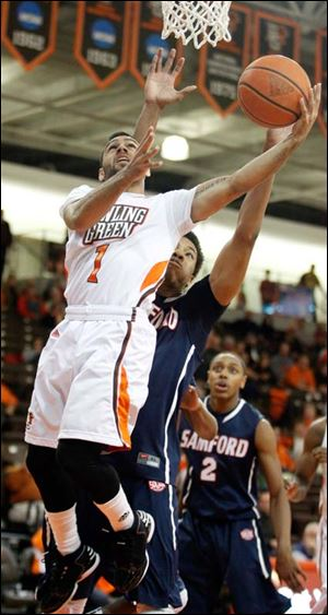Bowling Green State University guard Jordon Crawford goes to the rim.