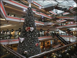 A Christmas tree is displayed at a shopping mall as the territory prepares to celebrate the Christmas holidays, in Hong Kong.