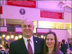 Interim board president Joe Herman and wife Amy enjoy the casino-themed event to benefit Central Catholic High School.