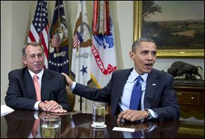 President Obama and House Speaker John Boehner of Ohio discuss negotiations over the fiscal cliff.