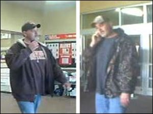 Surveillance video captured these images of the suspect at the Bowling Green Walmart.