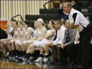 Perrysburg girls basketball coach Todd Sims shouts instructions.