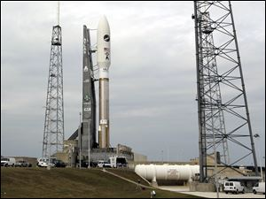 A United Launch Alliance Atlas V rocket, shown here yesterday, was launched today at Cape Canaveral.