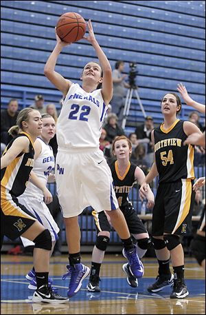 Anthony Wayne's Raechel McKay, left, and Sara Zankl, right, scramble for a loose ball with Northview's Stephanie Duwve.