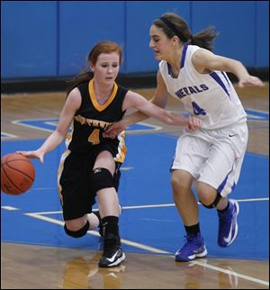 Northview's Maddie Fries is guarded by AW's Abby Allen during 2nd half at Anthony Wayne HS in Whitehouse.