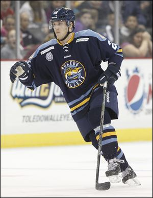 Toledo Walleye player Ben Youds, 25, against the Fort Wayne Komets at Huntington Center, Wednesday, November 7, 2012.