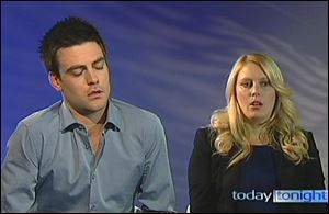 Australian radio DJs Michael Christian, left, and Mel Greig appear during a TV interview.