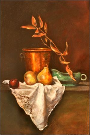 Teri Bersee's 'Still Life with Copper Bucket' is on display at the Toledo Artists' Club's Holiday Gallery Show.
