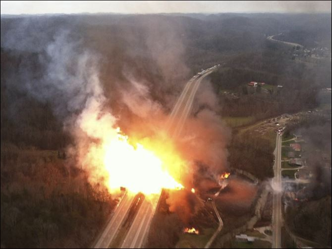 APTOPIX Gas Line Explosion This image provided by the West Virginia State Police shows a fireball erupting across Interstate 77 from a gas line explosion in Sissonville, W. Va., Tuesday.