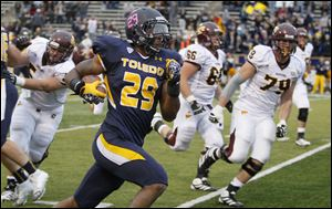 Toledo safety Jermaine Robinson returns an interception for a TD against Central Michigan. Robinson said the Rockets are mentally prepared to play Utah State.