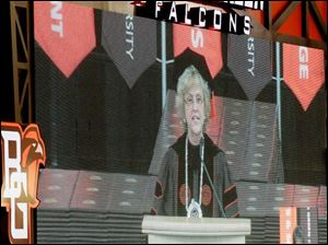 President Mary Ellen Mazey, Ph.D, is seen on the video board during her speech.