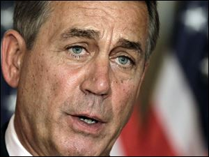 "House Speaker John Boehner, R-Ohio, speaks at a news conference on Capitol Hill in Washington.  President Obama and Speaker Boehner met at the White House today in search of a compromise to avert the economy-threatening ""fiscal cliff."""