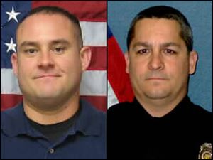 Officer Jeff Atherly, left, 29, and Cpl. David Gogian, 50, were fatally shot outside a Topeka grocery store Sunday while responding to a report of a suspicious vehicle, authorities said.