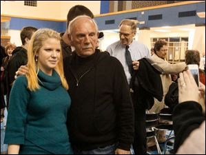 Jim Leyland poses for a photograph with Perrysburg High School math teacher Rachel Clink.