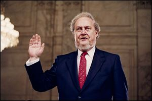 Judge Robert Bork, nominated by President Reagan to be an associate justice of the Supreme Court, is sworn before the Senate Judiciary Committee on Capitol Hill at his confirmation hearing, September, 1987.