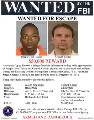 This image provided by the FBI shows the wanted poster for Jose Banks, left, and, Kenneth Conley, two inmates who escaped from the Metropolitan Correctional Center in downtown Chicago.