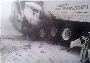 A 25-vehicle pileup killed three people Thursday north of Des Moines. Authorities said drivers were blinded by blowing snow on I-80.