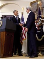 President Barack Obama shakes hands with Sen. John Kerry, D-Mass., his choice to be the next Secretary of State,  as he makes his announcement in the Roosevelt Room of the White House in Washington.