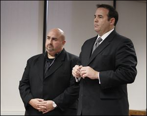 Andrew Zepeda, left, received a 30-day sentence for violating his intervention plan from a February, 2011, felony conviction. His attorney, Beau Harvey, successfully argued for leniency Thursday.