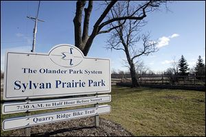 The entrance to Sylvan Prairie Park along Brint Road. The Olander Park System has received grant monies that will allow the  park system to purchase more property for the park.