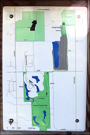 The map shows Pacesetter, Sylvan Prairie, and Fossil parks, from top. Sylvan Prairie will grow by about 70 acres.