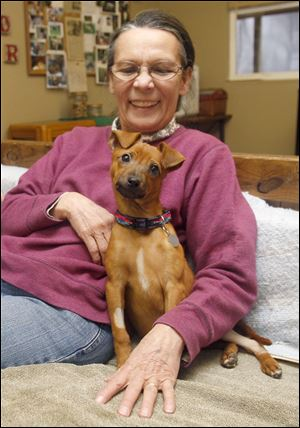 Jane Huth, You Lucky Dog's founder, and other volunteers are helping with the recovery of Cindy Lou Who, a terrier mix, at her rescue group.
