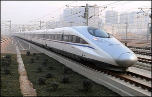 A high-speed train G802 leaves for Beijing from Shijiazhuang, capital of north China's Hebei Province today.