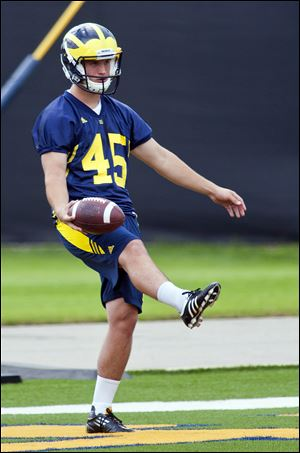 Michigan kicker Matt Wile had nine punts for an average of 31.9 yards and had 70 kickoffs for an average of 60.3 yards this season.