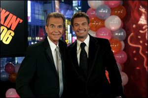 Former New Year's Rockin' Eve host Dick Clark, left, with current host Ryan Seacrest.