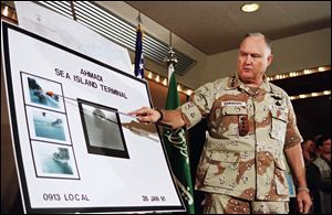 U.S. Army Gen. Norman Schwarzkopf, seen here in 1991, played a key diplomatic role by helping to persuade Saudi Arabia's King Fahd to allow U.S. and other foreign troops to deploy on Saudi territory as a staging area for the war to come.