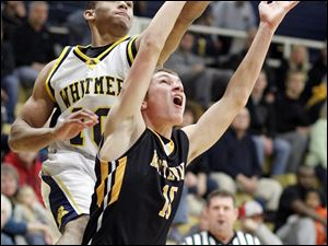 Whitmer's Ricardo Smith (10) takes a shot against Sylvania Northview's Jeff Czerniakowski (10).