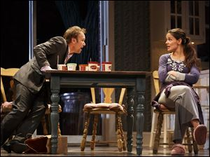 "Katie Holmes is shown playing the character Lorna in ""Dead Accounts"" at Broadway's Music Box theatre in New York."